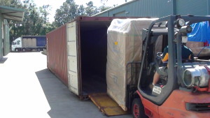 Unloading Commercial Storage Container